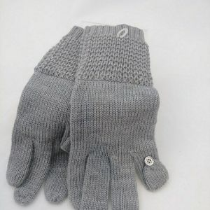 Calvin Klein Waffle-Knit Touch Gloves Grey New